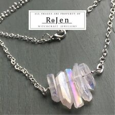 Silver Plated Opal Angel Rainbow Aura Point/Shard Necklace Chakra Pagan Wiccan