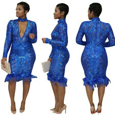 Sexy Women Long sleeves bodycon sequins clubwear party cocktail evening dress