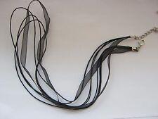"""5 noir organza colliers extra long 55 cm (22"""") ruban cordon COLLIERS"""