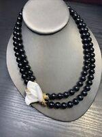 Kenneth Jay Lane KJL Avon Black Beaded 2 Strand Pave Crystal White Rose Necklace