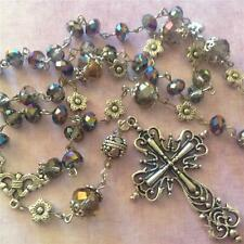 *ReLiGiOuS RoSaRy* Necklace Tibetan Silver Filigree Cross, Sparkling Crystals
