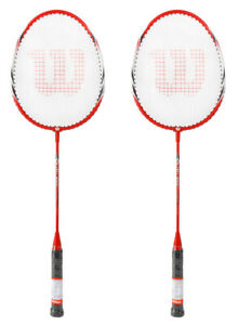 Wilson GLORY 3000 Badminton Racket Red 2 Racquets String with Full Cover