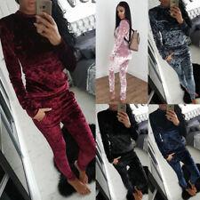 Women's Ladies Crushed Velour Lounge Sweatshirt Velvet Full Ladies Tracksuit AU