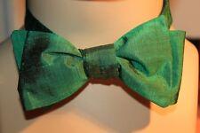 Handmade Bow Tie, Self Tie made from vintage SILK fabric GrEEnSiLk