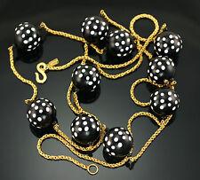 """KJL Kenneth Lane Black White Polka Dot Beads Runway 59"""" Long Flapper Necklace"""