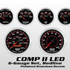 C2 Redline 6 Gauge Set, Stainless Bezels, 0-90 Ohm Fuel Level, Electric Speedo