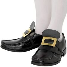 Mens Pirate or Musketeer Fancy Dress Shoe Buckles Black by Smiffys New
