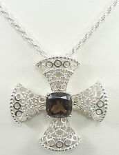 Michelle Albala Sterling Silver Smoky Quartz French Cross Pendant Necklace QVC