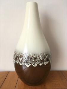 "Doulton Hand Made Cream/Bronze Ceramic Vase Modernist Lava Effect Glaze 15"" (H)"