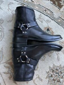 FRYE Women's Harness Short Black 71367 Boots Sz 8 Black Leather New