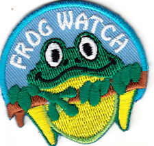 """FROG WATCH"" - IRON ON EMBROIDERED PATCH - Frogs, Cute Critters"