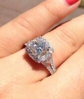 Certified 3.00Ct White Cushion Diamond Engagement Ring Solid 14K White Gold Over