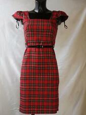 New Ladies Women Tartan Check Belted Party Dress- 8-14