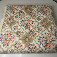 vintage coverlet bedspread ruffled edge tan cream pink peach floral print pink