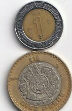 2 DIFFERENT BI-METAL COINS from MEXICO - 1 & 10 PESOS (BOTH DATING 2005)