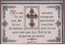 "Wood Bible Scripture Plaque""BY HIS STRIPES WE ARE HEALED""3D Cross,Christain Gift"