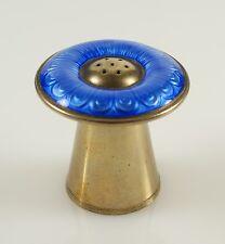 Vintage Aksel Holmsen Norway Gilded Silver Blue Enamel Mushroom Salt Shaker