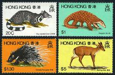 Hong Kong 384-387, Mnh. Wild mammals.Civet,Pangolin,Ch inese porcupine,Deer,1982