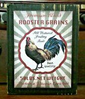 Rooster Grains Wooden Sign Block Shelf Sitter Tuck Farmhouse Primitive 3.5X4.5