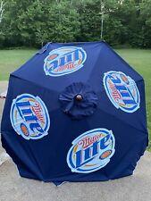 Miller Lite Beer Umbrella Retro Patio Beach Deck Pool Blue Logo