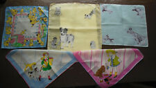 Lot of 5 Vintage Childrens Handkerchiefs - All Dogs