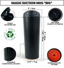 "Magic suction Mug ""BIG"" 540ml Black ✈ Non-spill Travel coffee mug + FREE GIFT🎁"