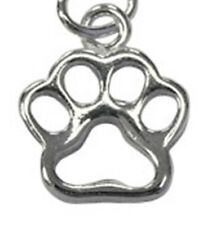 ONE STERLING SILVER SHINY PAW CHARM / PENDANT WITH OPEN JUMP RING, 12 X 9 MM