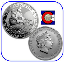2020 Tuvalu Black Flag The Royal Fortune Black Bart 1 oz Silver Coin in capsule
