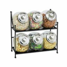 Glass Jar Display Rack, Black Metal with Six 1/2 gal Clear Glass Jars - 16 3/4