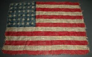 1865 36 STAR CIVIL WAR PARADE FLAG 5 3/4 x 4 1/4 INCHES HAND HELD EXAMPLE vafo