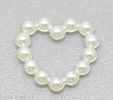 500 Acrylic Pearl Imitation Love Heart Embellishments Jewelry Findings 11x11mm