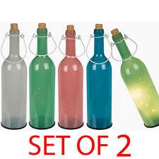 Conjunto de 2 Frasco de Vidrio 5 LED Luz De Hadas Decoración De Color Boda De Batería 18 Cm