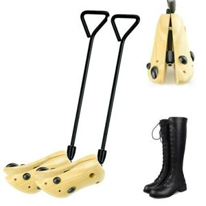 1 Pair Adjustable Wooden Boot Shapers Stand Holder Shoe Tree Stretcher Long