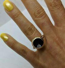 UNIQUE 14k Yellow Gold Black Ring Aprrx 0.17 TCW Moving Rolling Diamond Sz 6.25