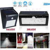 16&38 LED Solaire Lampes PIR Capteur De Mouvement Mur Jardin Extérieur Sécurité