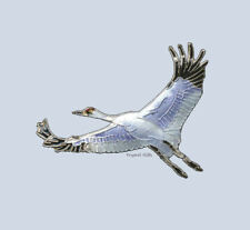 WHOOPING CRANE Cloisonne PIN by Bamboo Jewelry STERLING Silver Bird - Gift Boxed
