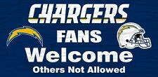 "San Diego Chargers Fans Welcome Wood Sign 12"" x 6"" [NEW] NFL Man Cave Den Wall"