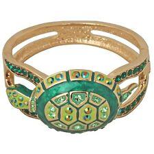 Kirks Folly Love Turtles Cuff Bracelet-Goldtone-Fits Average Size Wrists-Green