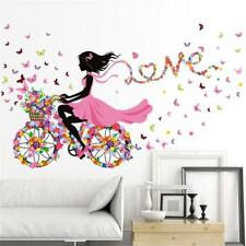 Butterfly Girl Flower Removable Wall Stickers Vinyl Decal Room Home Mural Decor;