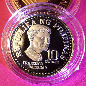Rare Proof Philippines 1978 10 Sentimos, Mintage of 4,792, 18mm CuNi with Holder