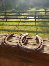 1 Pair Of Lucky  Rustic Rusty Horseshoes  Great for Western decor  crafts Art