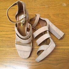 COACH MARINA OPEN TOE STRAPPY PLATFORM SUEDE SANDALS HEEL SHOES NEW SIZE 9