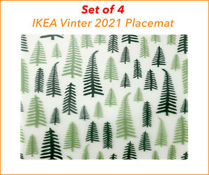 4 X IKEA Vinter 2021 Place mat Christmas tree Placemat white/green 15 ¾x11 ¾ New