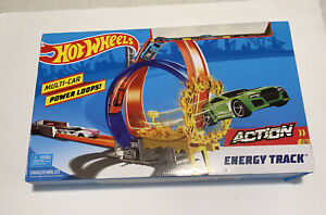 NEW Hot Wheels Action Energy Track Double Power Loops Track Set 3 Cars Multi-Car
