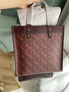 coach horse carriage field tote 30 oxblood cranberry #89143 $450