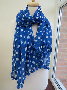 L.K.Bennett Carissa Blue Spot Printed Long scarf RRP £95 *BEAUTIFUL* BNWT