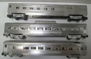 American Flyer 960 962 963 Silver Passenger Cars NO RESERVE !