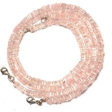 """Natural Gem Rose Quartz Fine Quality Smooth 5MM Heishi Square Bead Necklace 17"""""""
