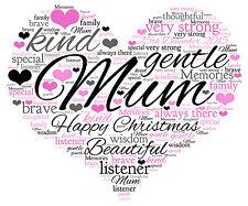 Personalised Word Art Heart Print  Mum Christmas Gift
