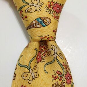 HERMES 7606 SA Silk Necktie FRANCE Luxury MANDOLIN BUTTERFLY FLORAL Rare EUC